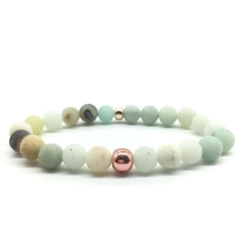 Naturstein Armbänder Amazon Frosted Perle Amazonit Armband Mala Perlen Pulsera Reiki Schmuck für Frauen Männer Perlen Armbänder