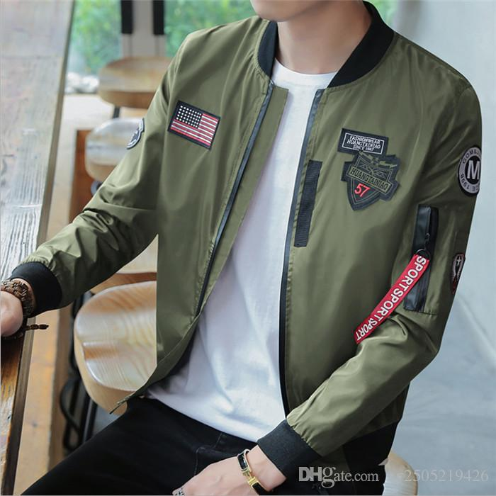 Men's Spring and Autumn Stand Collar Long Sleeve NASA Space Agency Space Jacket Men's Baseball Service Air Force Flight Suit Men's Jacket