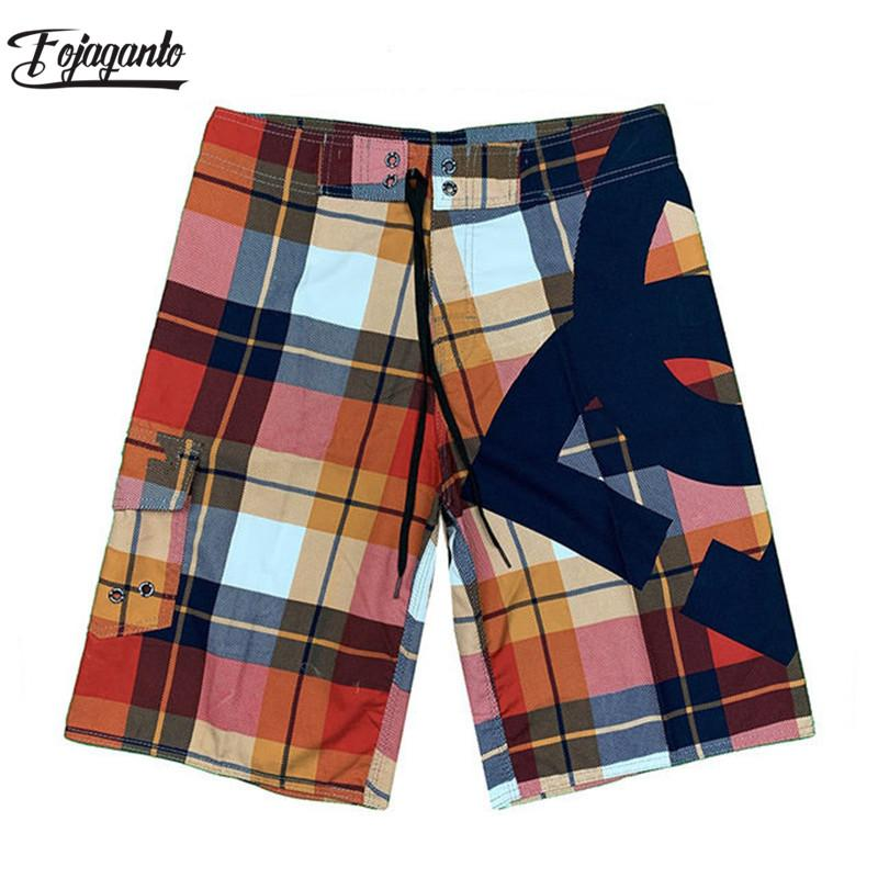 FOJAGANTO Brand Men Beach Shorts Plaid Print Swimwear Men's Beachwear Surf Summer Swimming Fashion Male Beach Shorts