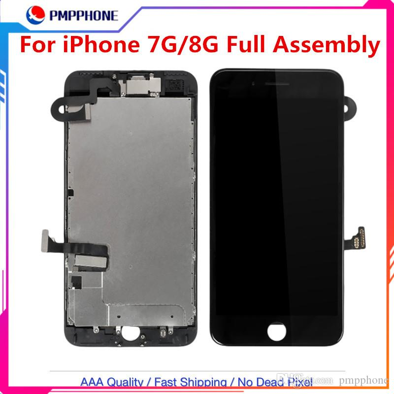 Sin alta calidad de la pantalla pixeles muertos para iPhone 6G 6S pantalla táctil de la asamblea completa + frontal de la cámara + altavoz reemplazo del digitizador de DHL de envío