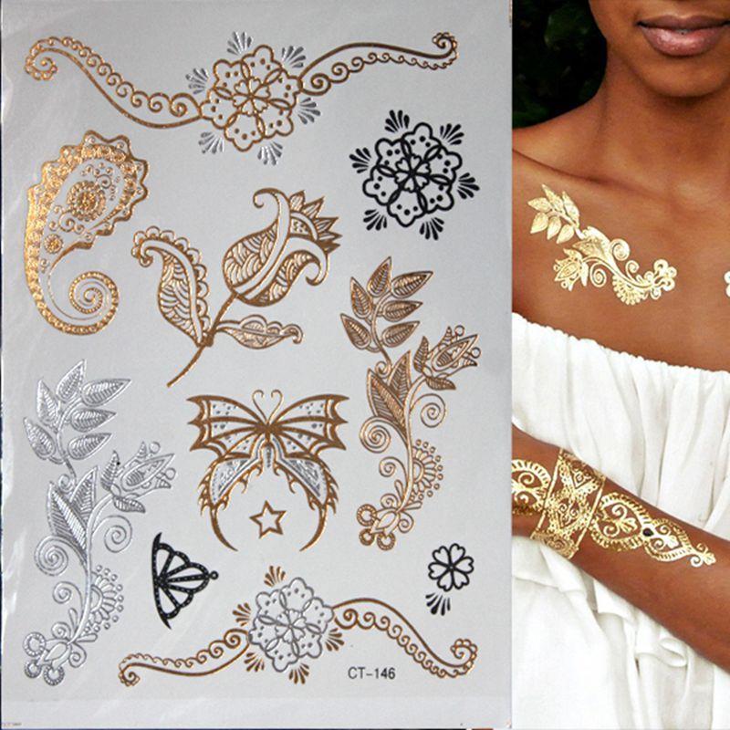 Heißes grelles metallisches wasserdichtes temporäres Tätowierungs-Goldsilber Tatoo-Frauen-Hennastrauch-Blumen-Taty Entwurfs-Tätowierungs-Aufkleber