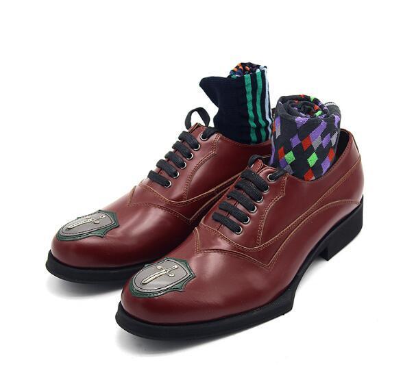 scarpe formali alti per gli uomini allacciano classici oxford genuino scarpe partito di cuoio moda maschile mano marrone