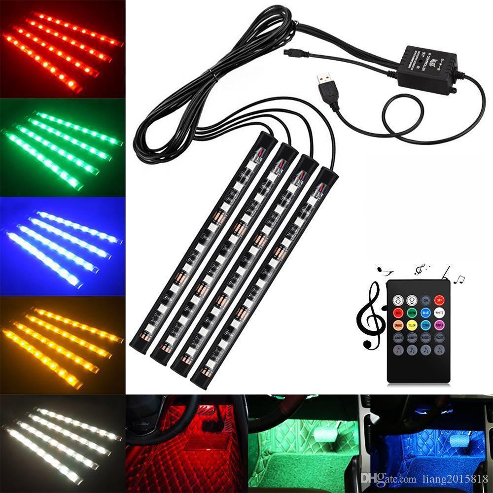 4 قطع سيارة USB 5050 SMD 9 LED RGB أضواء قطاع الداخلية الجو النيون مصباح التحكم الموسيقي + الأشعة تحت الحمراء عن بعد