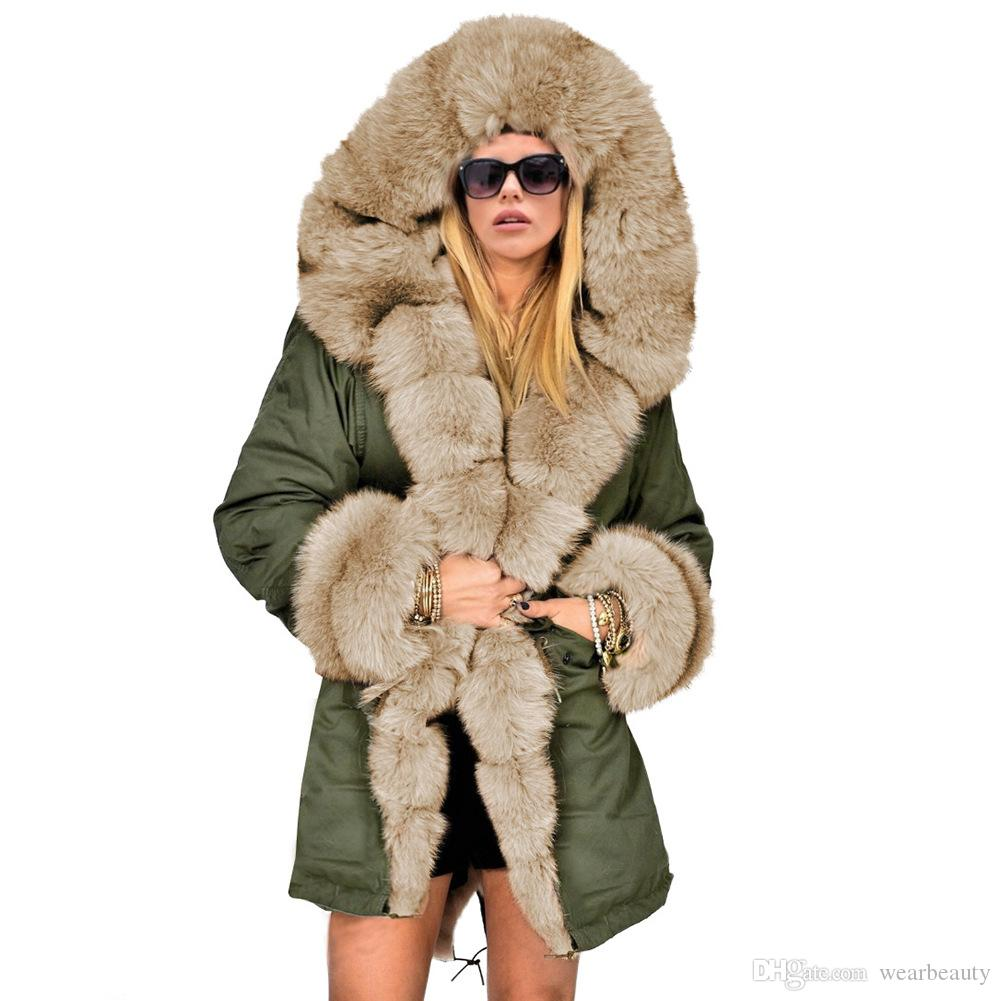 Womens Faux Fur Hooded Coats Army Green Black Thick Warm Coat Woman Long Length Jackets Free Shipping