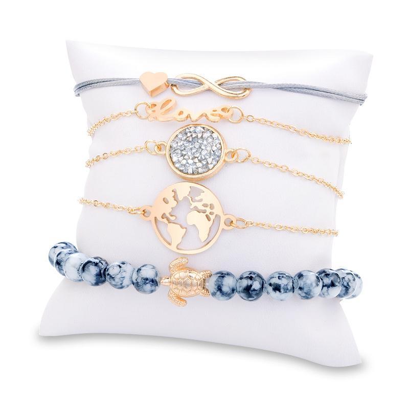 Turtle Mappa Cuore lettera d'amore di cristallo Perline ciondolo braccialetto 5 pc / insieme Bracciale oro Set di fascino della ragazza gioielli M2118