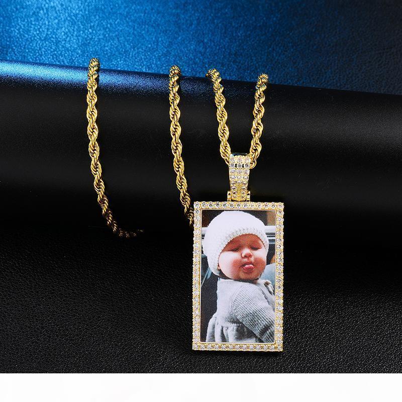 ustom photo géométrique Médaillons Collier avec pendentif Tennis Chaîne Or Argent Couleur cubique Zircon Hip Hop Hommes Bijoux