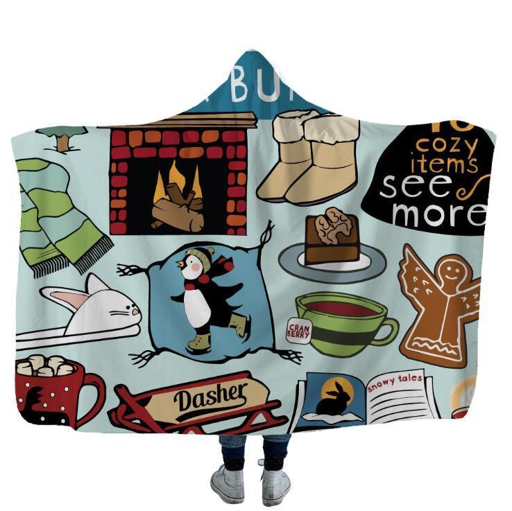 Sherpa mantas polar Camper picnic con capucha para niños Mantas suaves calientes del coche que acampa Throw Blanket con LXL396a calentamiento suave de la capilla
