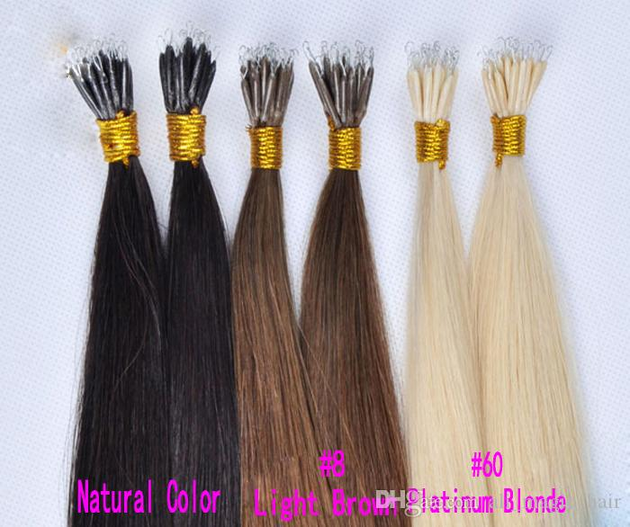 Nano Rings Remy Human Hair Extensions Color Ash Blonde Highlight Bleach Blonde Real Hair Nano Rring Extensions with Nano Beads 100Grams 1g/s