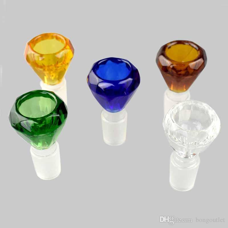 Piękny Diamentowy Projekt Dym 14mm 18mm Męskie Joint Glass Bowls Do Platform Oil Calding Akcesoria