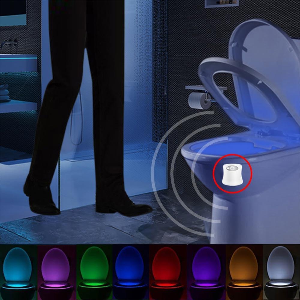 화장실 야간 빛 LED 램프 스마트 욕실 인간의 모션 활성 PIR 8 색 자동 RGB 백라이트 화장실 조명