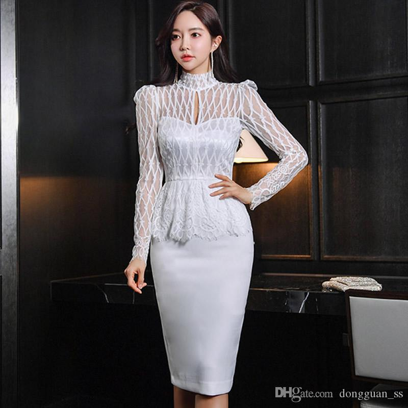High Lace Taille Party Dame's Occasion Tissu Corée Robes Peplum Bormon Sexy Midi Patchwork Spring Femmes VGLAK