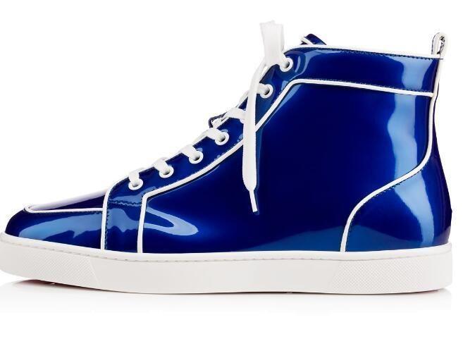 sapatos de fundo azul de couro verde atlético sapato da moda Mens High Top vermelhas tênis de marca sapatos rasos Casual 36-46 Drop Shipping