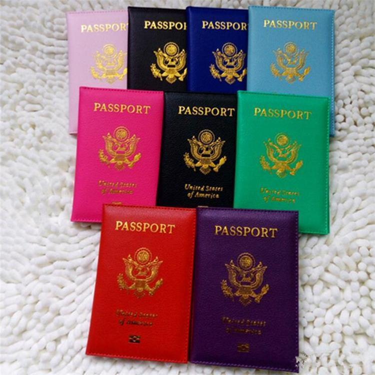 Voyage Mignon USA Couverture Du Passeport Femmes Rose USA Porte-Passeport Américain 9 Couleurs Couvre pour Passeports Filles Cas Passeport Portefeuille