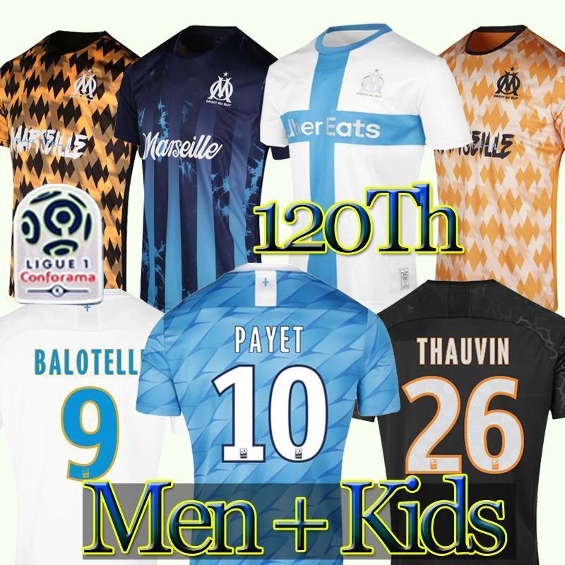19 20 OM camiseta de fútbol 2020 maillot de pie PAYET THAUVIN BENEDETTO maillots camisa de los niños al fútbol los hombres Olympique de Marseille kit 120 años