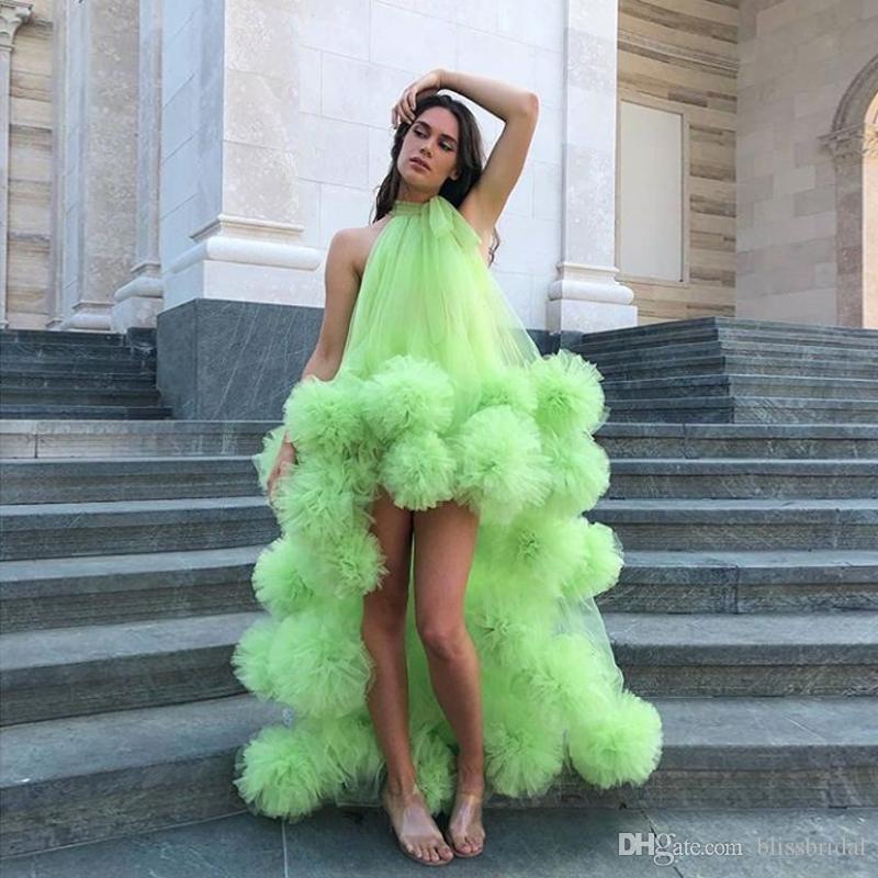 Neck asimmetrico verde Tulle Abiti di alta Prom 2020 nuovo modo Hi-Lo fiori Handmade Ruffle sera convenzionale abiti del partito libera la nave