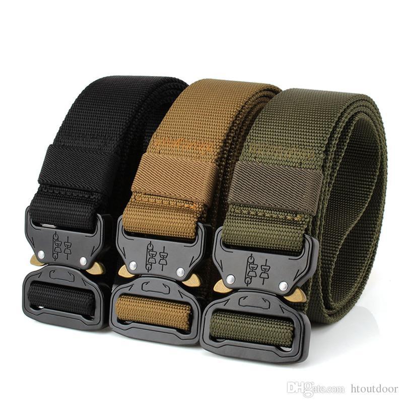 Cintura tattica a 4 colori da uomo regolabile in vita con cinturino in vita regolabile con fibbia in metallo. Accessori da cintura in nylon