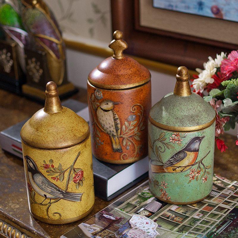 1pcs Retro Ceramic Kitchen Storage Bottles Jars tin Sugar Pot Organizer Painted Tea Caddy storage Pains Cooking Jar Canner