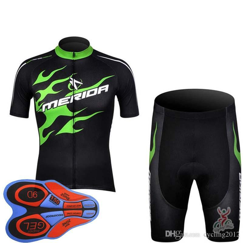 2018 Merida Cycling Jersey 9D Gel Pad Shorts Ropa Ciclismo Pro Ciclismo Ropa para hombre Summer Bicycle Maillot Traje F2220