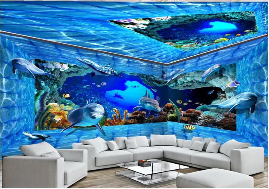 WDBH 3d room wallpaper foto personalizada Ocean World Dolphin Water Brick Wall Pared de toda la casa 3d murales papel tapiz para paredes 3 d