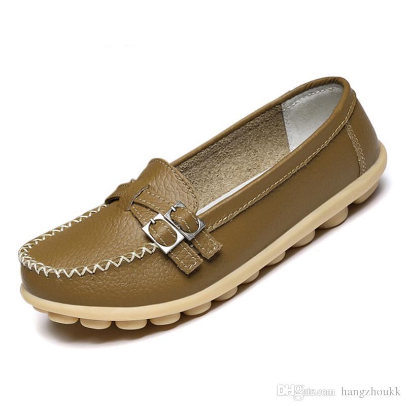Nouvelles femmes chaussures en cuir véritable confortable boucle boucle Oxfords infirmière Casual ballerines à la main femmes chaussures