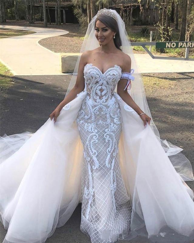 2020 Vestidos de novia de sirena de jardín con falda desmontable Sweetheart apliquen Vestidos de novia largos de tamaño MÁS TAMAÑO MUJER DESMUTORES Vestido de novia