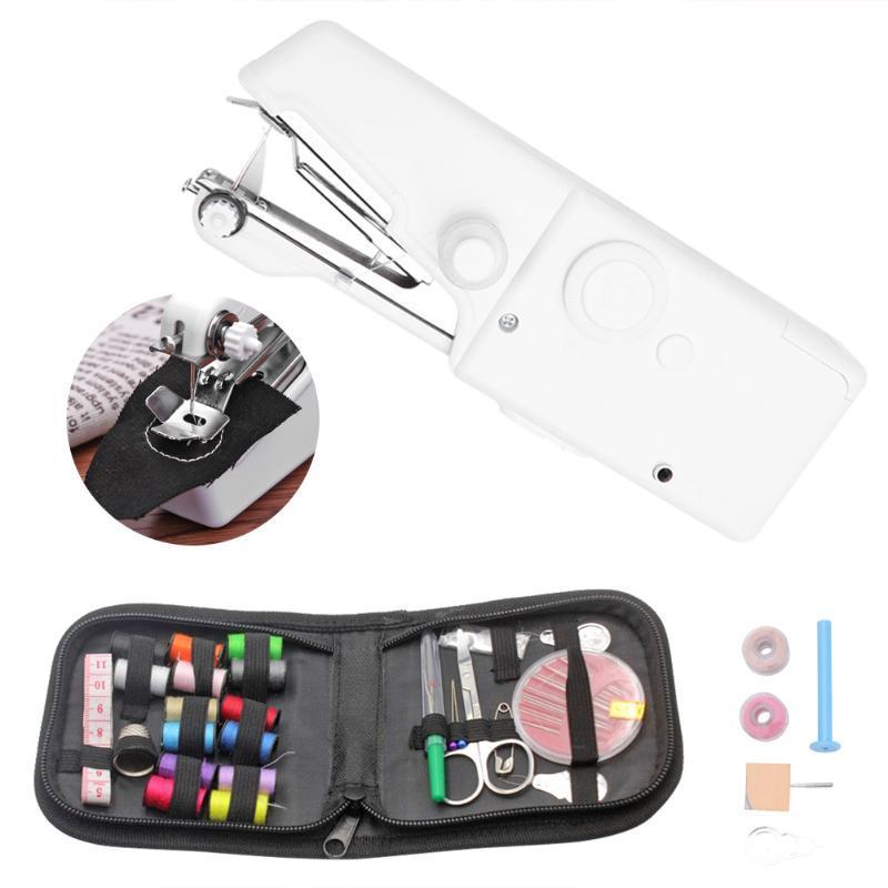 Mini portátil de la máquina de coser del hogar eléctrico sin cuerda de la puntada de costura Conjunto para reparaciones rápidas de bricolaje telas de la ropa de la puntada