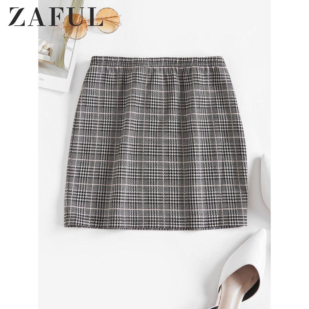 ZAFUL Houndstooth Plaid Skirt For Women Elastic Waist Bodycon Mini Skirt A Line High Waist Skirt Femme Vintage Night Out Sexy