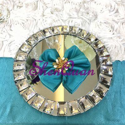12pcs / lot, Spiegel Bling Bling Kristallperlen-Ladegerätplatten im silbernen Hochzeitsmittelstück, Speiseteller, Nachtischpfanne