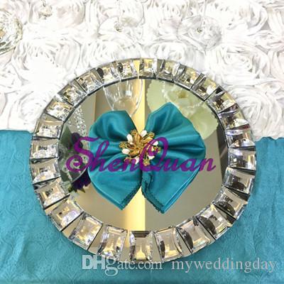 12 pçs / lote, espelho bling bling contas de cristal carregador placas na peça central do casamento de prata, prato de jantar, panela de sobremesa