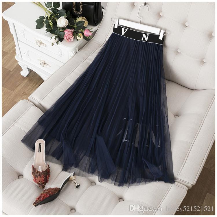 elástico na cintura de moda Europeia novas mulheres gaze de malha plissado carta de impressão saia longa plus size S M L