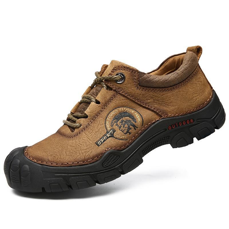 El hombre zapatos para caminar inferior grueso con cordones de zapatos antideslizantes para deportes al aire libre de alta calidad de las zapatillas de deporte de los hombres de Protección Sole Walking