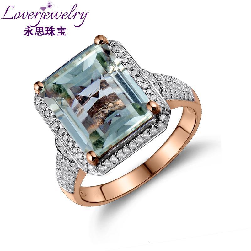 LOVERJEWELRY кольцо для женщин Emerald Cut Green Gemstone 100% Обручальное кольцо природных Аметист Алмазные твердых ювелирных SH190930 14K розовое золото