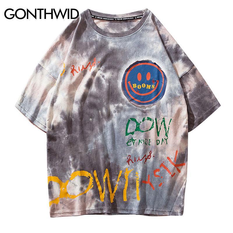 GONTHWID Граффити Smile Print Tie Dye Футболки Streetwear Мужчины Хип-Хоп Повседневная Футболки с коротким рукавом Летняя мода Хипстерские топы