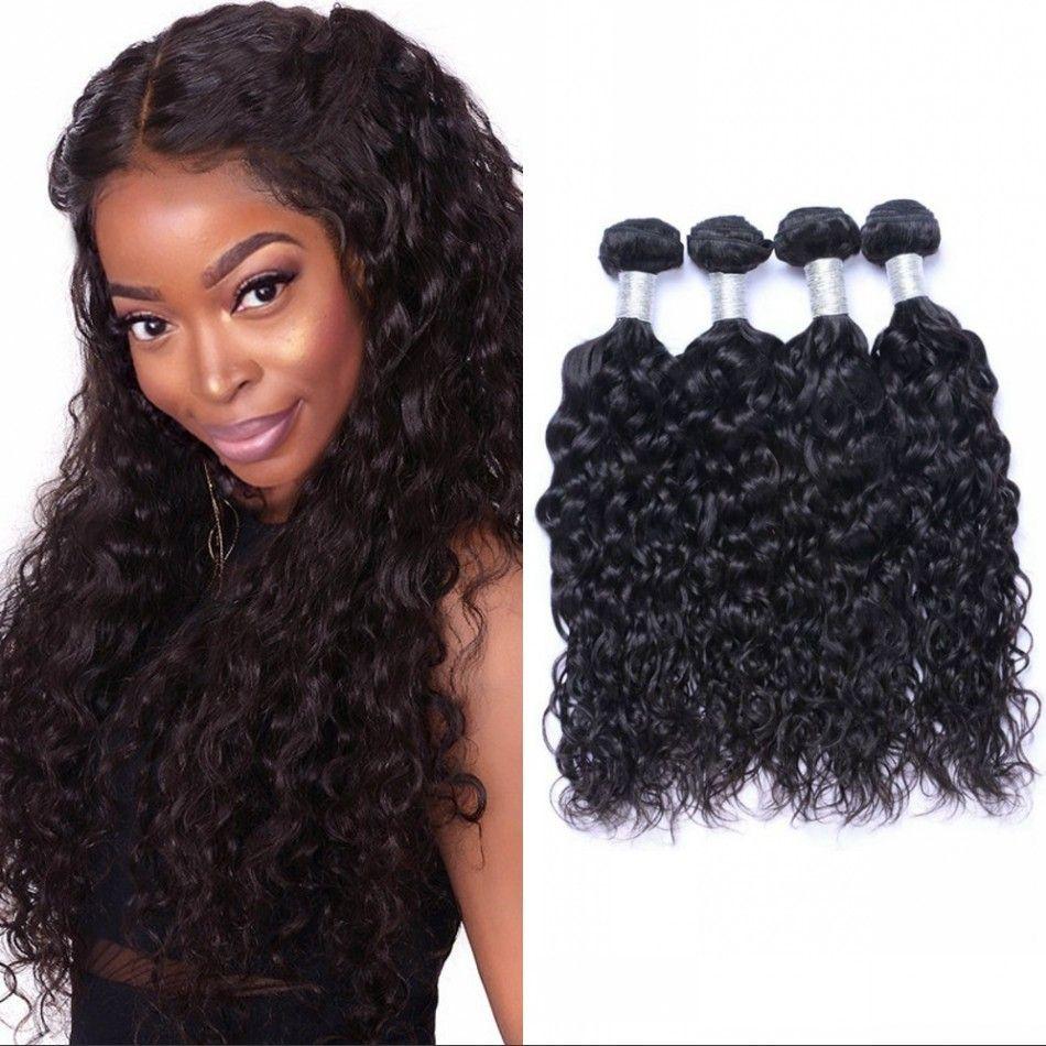 Монгольские волосы волна воды пучки мокрые и волнистые человеческие волосы двойной уток Non Remy наращивание человеческих волос 4 пучка