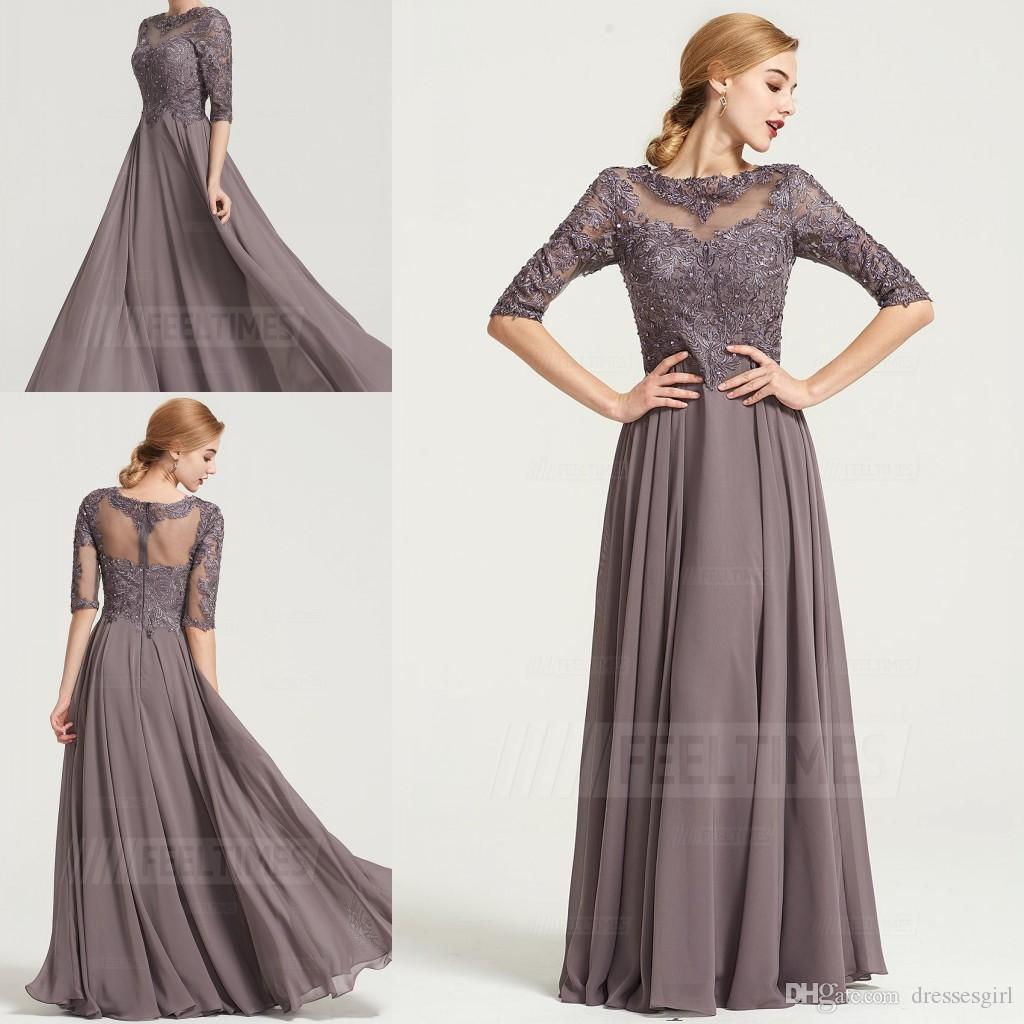Taupe Floor Length Chiffon Mother Dresses Lace Appliques Elegant Jewel Half Sleeve Mother of the Bride Dress Women Formal Wear