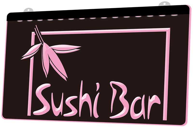 LS1147 0 Open Sushi Bar Cafe Restaurant RGB Multiple Color Remote Control 3D Engraving LED Neon Light Sign Shop Bar Pub Club