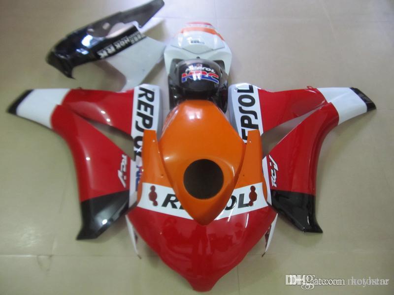 Kit carénage en plastique OEM pour HONDA CBR1000RR 2008-2011 carénages orange rouge noir ensemble CBR1000RR 08 09 10 11 OT03