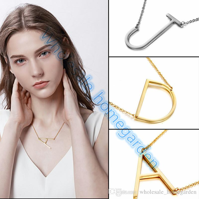 Neue mode design silber vergoldet edelstahl alphabet halskette a-z anhänger halskette