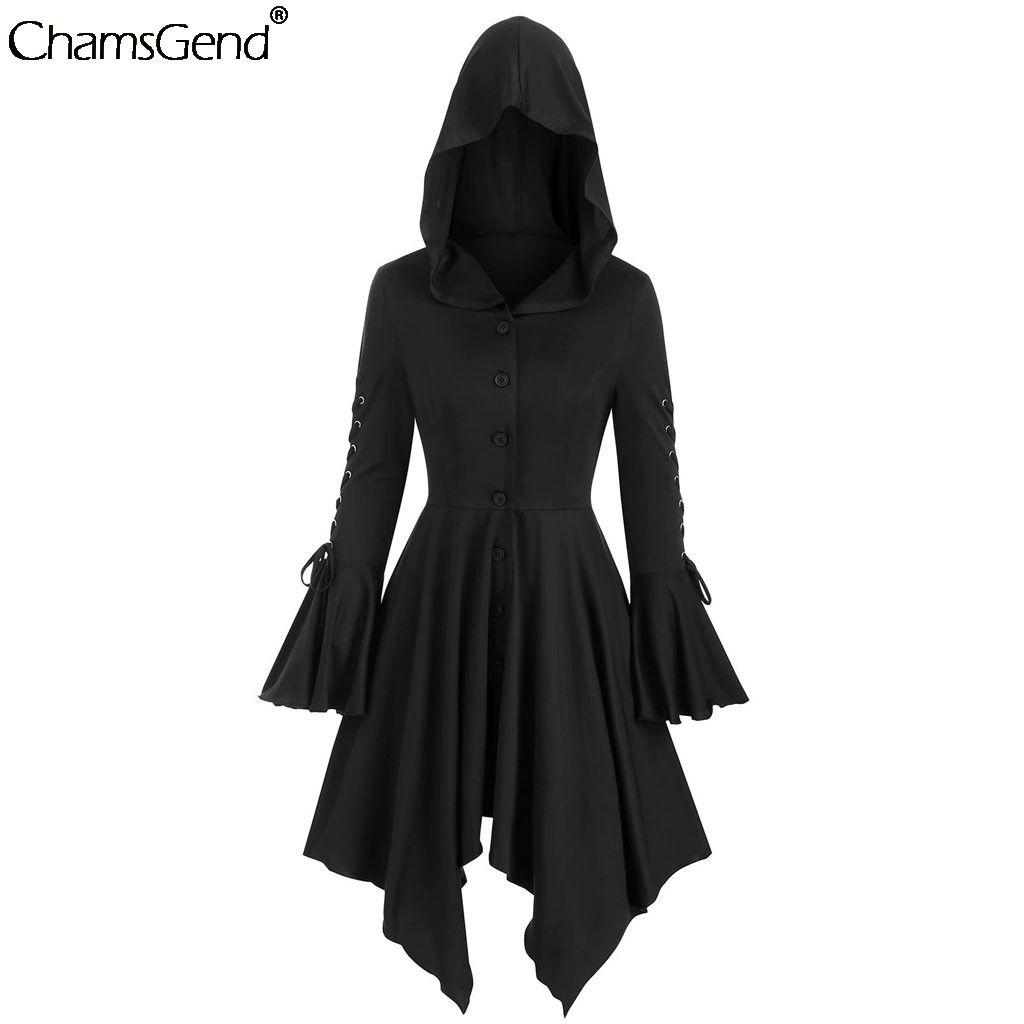 CHAMSGEND manches longues manteaux gothiques femmes 2019 de Noël Manteaux Outwear cosplay adultes dame couleur unie coupe-vent femmes Costumes