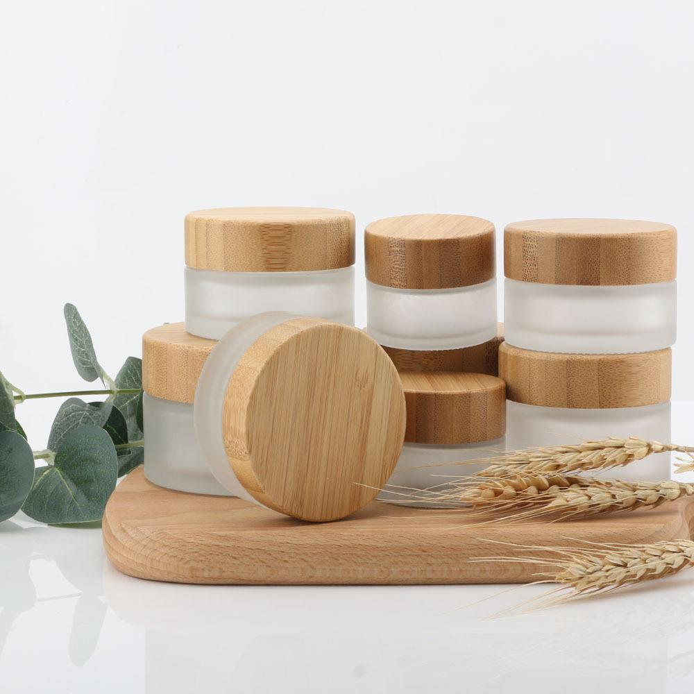 15g/30g/50g Eco Natural Bamboo Wooden Lids Frosted Glass Bottle Travel Set DIY Herbal Sample Face Cream Jars Pot Empty Cosmetic Container