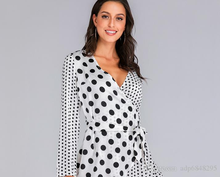 Sonbahar ve Kış 2019 Yeni Moda Dalga Noktası Uzun Kollu Kabarcık Saten Splice Etek V Tie Düzensiz Elbise