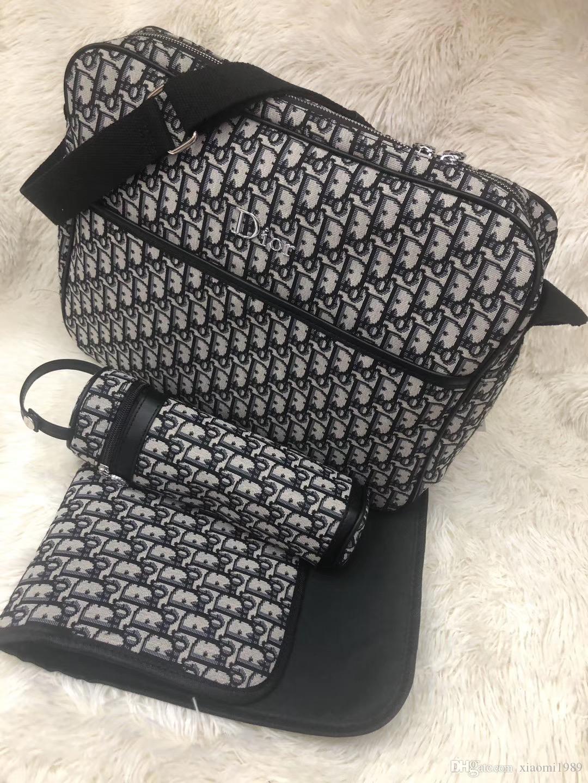 مل 3pcs الطفل حفاظه الحفاظة حقيبة التمريض حقيبة الأزياء الأمومة سحاب حقيبة يد الأم مومياء حقيبة الكتف قمم