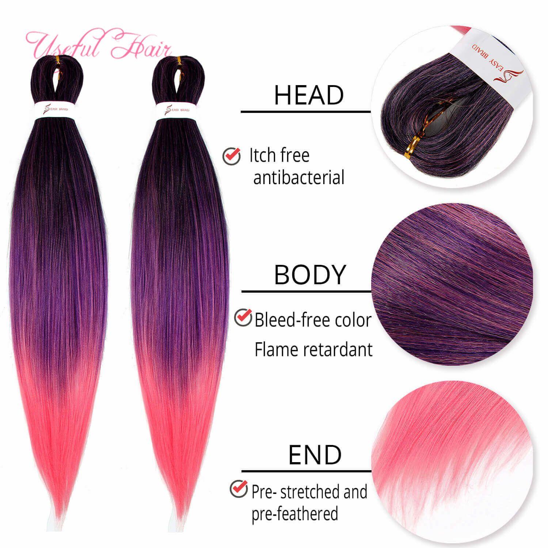 2019 nuovo stile pre-allungato Facile intrecciatura Jumbo strati Trecce Pre-Feathered naturali 24inch sintetica indossare Leggero Hair Extension