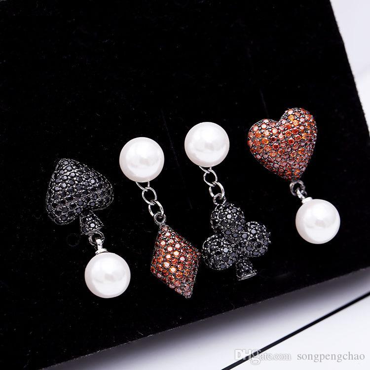 European American personality 925 sterling silver needle earrings creative playing cards set with zircon pearl earrings asymmetric earrings