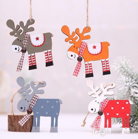 Hot Accueil fête Sapin de Noël Décor bois peint Elk Pendentif Xmas Party Décor cerf Pendentifs Décoration de Noël pour la maison