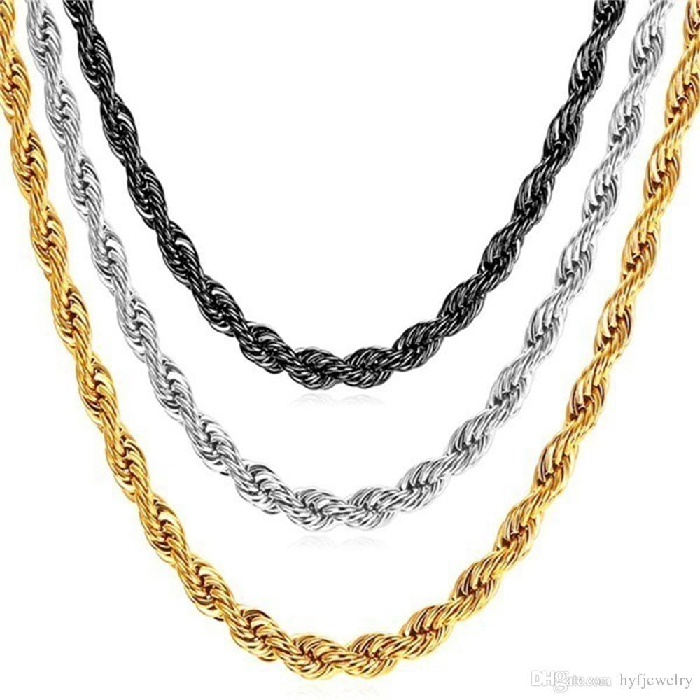 بندقية سوداء مطلي الفولاذ المقاوم للصدأ حبل سلسلة قلادة للرجال النساء هدية الأزياء والمجوهرات اكسسوارات بالجملة