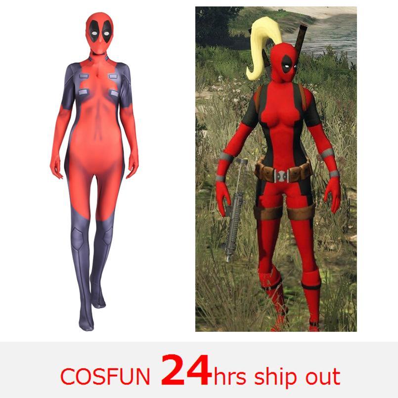 Woman Deadpool sword-fighting version Deadpool cosplay Costume Wade Wilson Costume Red Cosplay Jumpsuit For Halloween