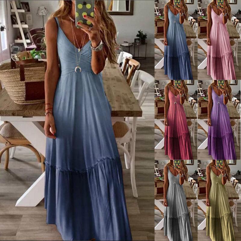 Vestido sin mangas largo del gradiente correa para el cuello V vestido C5263 de verano para mujeres