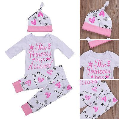 Newborn Infant Baby Girl Romper+Pants Jumpsuit Bodysuit Clothes Outfits Set