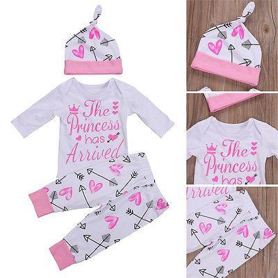 Newborn Infant Baby Girl Romper+Pants Jumpsuit Bodysuit Clothes Outfits Set